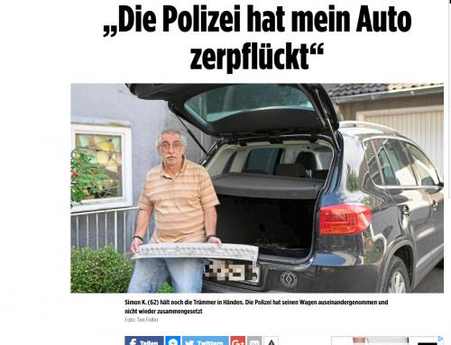 19.5. BILD-Zeitung: Polizeischäden bei Autodurchsuchung. Mandant sauer..