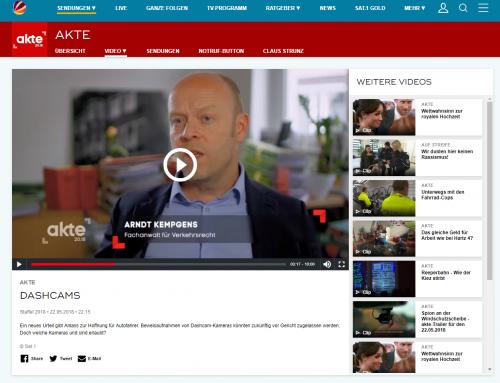 Sat.1 Akte 20.18 am 22.5. Der große Daschcam-Bericht. Hier der TV-Beitrag mit RA Kempgens im Sat.1 Archiv.