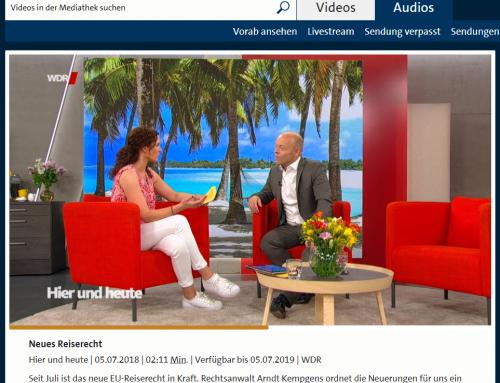 """5.7. WDR """"Hier und Heute"""" Reiserecht aktuell. Ärger im Urlaub. Das können Sie tun. RA Kempgens live im Studio Köln"""