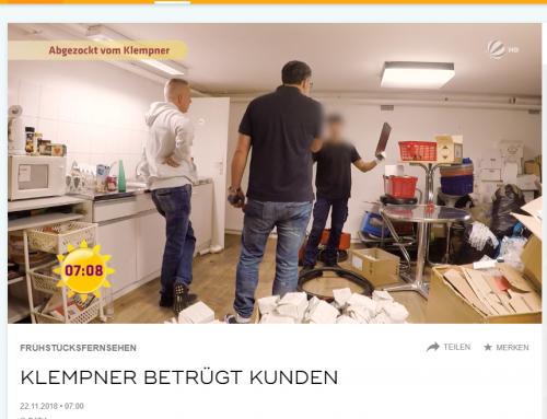 22.11.2018: SAT.1 Frühstücksfernsehen. Handwerker wehrt sich gegen unseriöse Konkurrenz. RA Kempgens vertritt Handwerker.
