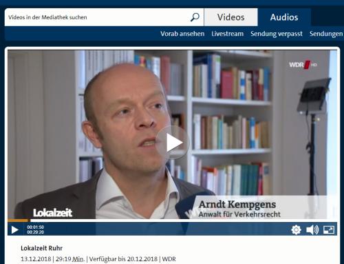 WDR TV Lokalzeit 13.12., 19.30 Uhr: Pkw-Diebstahl mit Keyless-Go. Probleme mit Versicherung / Polizei drohen. RA Kempgens im Interview