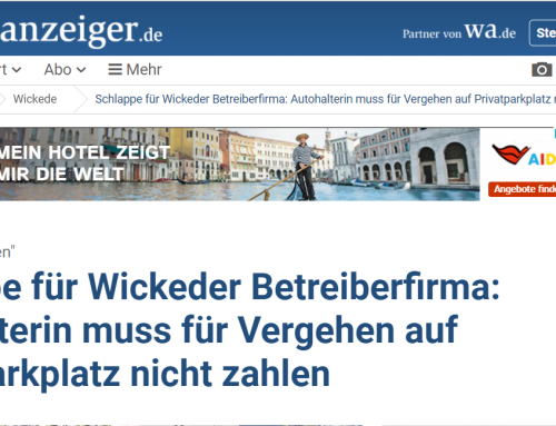 """17.1.19 wichtiges Parker-Urteil: LG Arnsberg erklärt """"Privatknolle"""" auf Supermarktparkplatz für unwirksam."""
