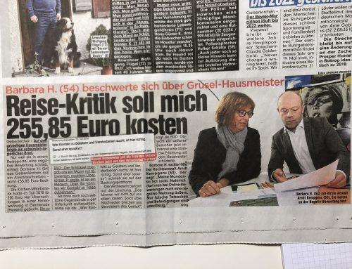 BILD 7.2.: Mandantin soll für Reisekritik 255 EUR zahlen. Mehr zum bizarren Fall hier…