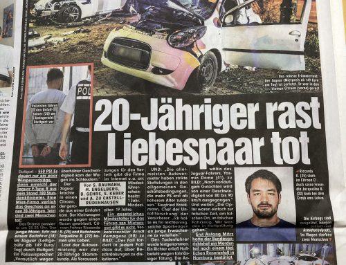 BILD 8.3.: Tödlicher Miet-Jaguar Unfall von Stuttgart. Mietwagenunternehmen in der Kritik. RA Kempgens in BILD