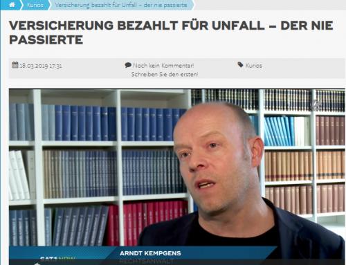 18.3. SAT.1: Kurioser Versicherungsfall nach Unfall. RA Kempgens im Interview