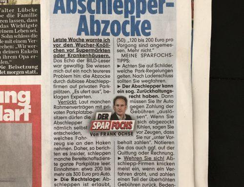 BILD 14.6.: Bericht über Abschlepp-Abzocke. RA Kempgens mit Tipps für Autofahrer