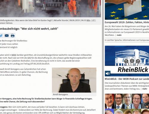 """WDR 8.6.: Was tun bei horrenden Bescheiden zum Straßenausbaubeitrag? RA Kempgens live bei WDR """"Servicezeit"""" und WDR online"""