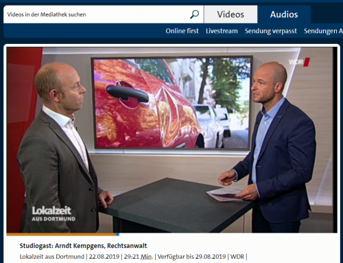 WDR Lokalzeit 22.8.: Bei über 20% aller Unfälle ermittelt die Polizei wegen Fahrerflucht. Was steckt dahinter? RA Kempgens im Studio Dortmung.