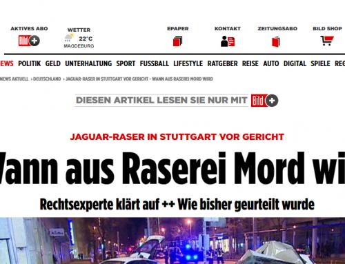 BILD 11.9.: Raser-Mordprozess von Stuttgart beginnt. Fahrer wegen Mordes angeklagt, RA Kempgens im BILD Experteninterview