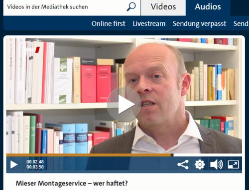 4.9. WDR Servicezeit. Mieser Montageservice. Wer haftet? RA Kempgens im Interview.