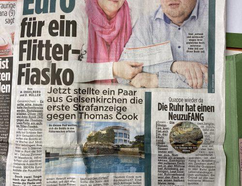 BILD 17.10.: Strafanzeige gegen Thomas Cook / Neckermann. Fall unserer Kanzlei geht zu Staatsanwaltschaft Essen.