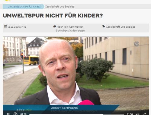 Sat.1 / RTL am 18.10.: Umweltspur nicht für Kinder. Bizarrer Owi-Fall ein Autofahrerin in Düsseldorf, RA Kempgens im Interview