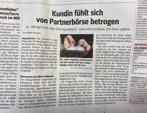 WAZ 5.11. Ärgerlicher Dating-Portal-Abzocker-Fall unserer Kanzlei sorgt für Diskussion.