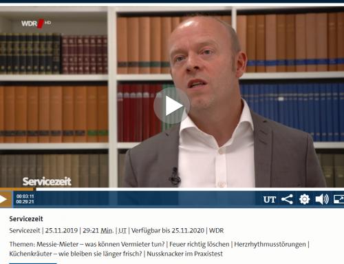 WDR Servicezeit 25.11.: Was tun bei Messie-Mietern. RA Kempgens mit den wichtigsten Tipps..