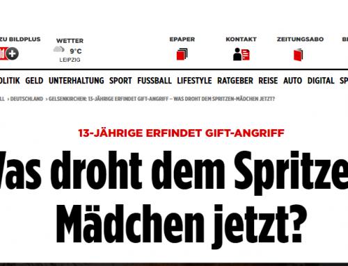 BILD 16.11.: Nachspiel im Spritzen-Fake Fall. Ein Fall, der Deutschland in Atem gehalten hat…