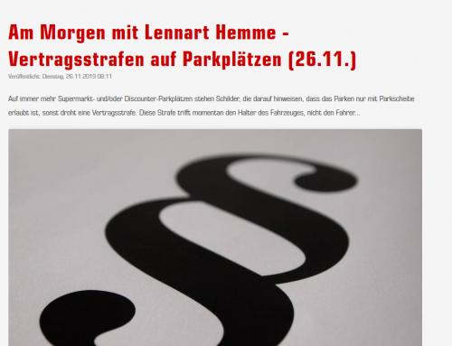 """26.11. BGH entscheidet über """"Supermarkt-Knöllchen"""", RA Kempgens bei Radio Emscher Lippe"""