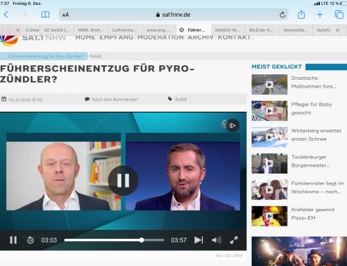 SAT.1 am 4.12.: Fahrverbote für Pyro im Stadio. RA Kempgens im Interview