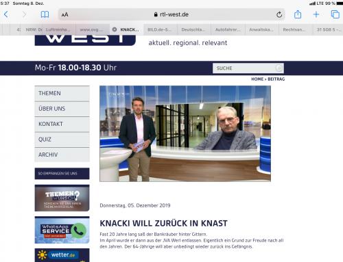 RTL 5.12.: Entlassener Knacki will freiwillig zurück.. RA Kempgens zu einem kuriosen Fall bei RTL