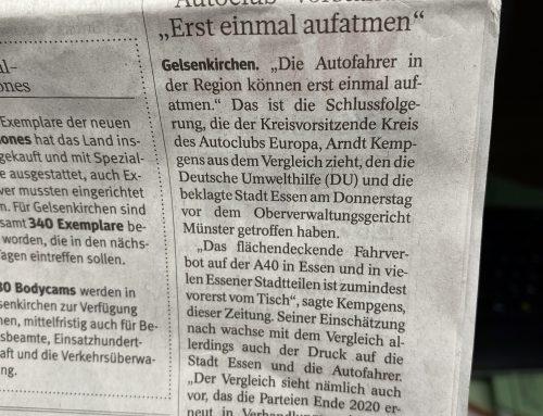 WAZ 6.12.: Fahrverbote in Essen nach OVG Einigung -zunächst- vom Tisch. RA Kempgens mit einer Einschätzung in der WAZ