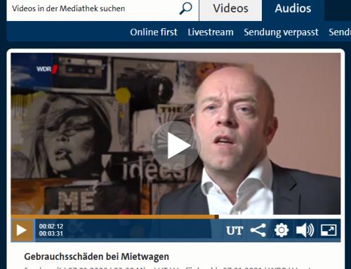 WDR TV 6.1.: Ärger mit Mietwagen. Was Kunden beachten sollten. RA Kempgens im Interview