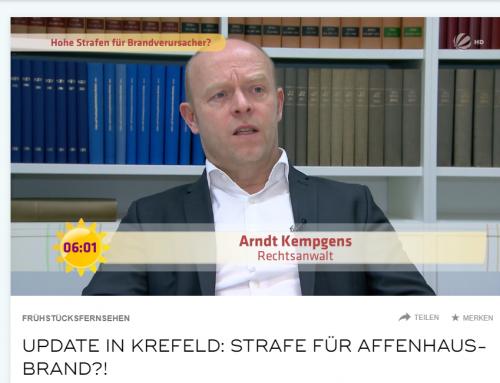 3.1.20: SAT.1 Frühstücksfernsehen zu rechtlichen Konsequenzen aus dem Brandfall im Zoo Krefeld.