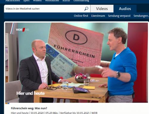 WDR TV 10.1. Führerschein weg. Was tun?