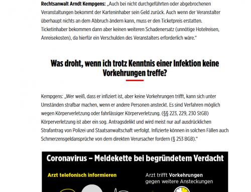 BILD 27.2.2020: Rechtsfragen zum Corona Virus