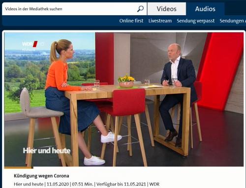 WDR Fernsehen 11.5. Corona und Arbeitsrecht. Rechtstipps rund um aktuelle Fragen live mit RA Kempgens