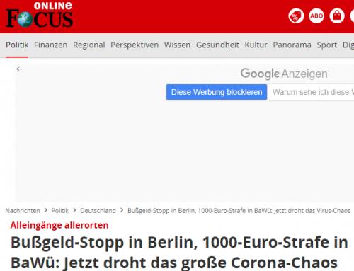 27.5. Corona-Bußgeldchaos nach Berliner Urteil. Focus online berichtet mit RA Kempgens im Interview