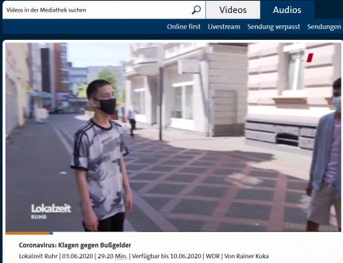 3.6. WDR TV Lokalzeit Ruhr: Bericht über kuriosen Corona-Jogger-Fall unserer Kanzlei