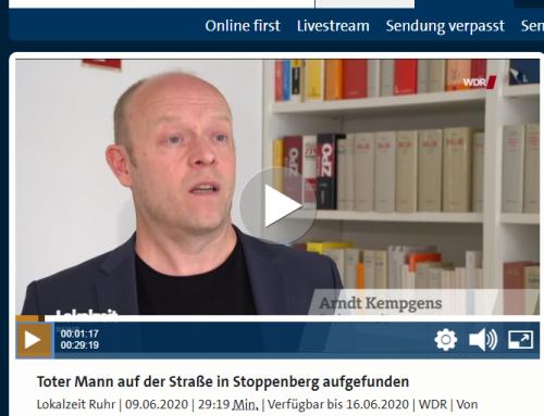 9.6. Mordermittlungen nach Fahrerflucht. WDR Fernsehen bericht in der Lokalzeit