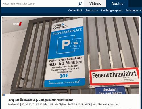 7.10. Privatknolle auf Supermarktparkplatz. Dauerärger für Autofahrer. So ist die Rechtslage. WDR Fernsehen, Servicezeit am 7.10. Hier geht es zum Sendemitschnitt