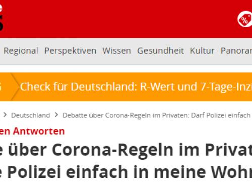 18.11. Corona-Regeln auch im Privatbereich? Hier finden Sie alle Rechtsinfos zum Thema sowie Interview mit RA Kempgens auf Focus-Online