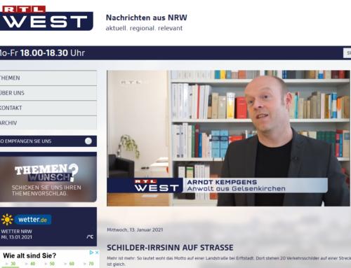 RTL 13.1.21: Schilderwald beschäftigt Behörden. RA Kempgens zu Sinn und Unsinn im RTL Interview