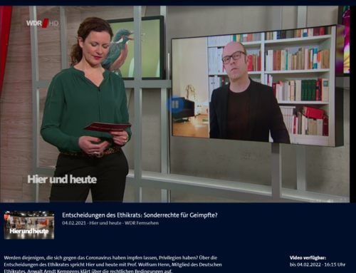 """4.2. Umstrittene Impfprivilegien. RA Kempgens live im WDR Interview bei """"hier & heute"""""""