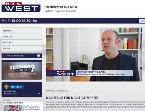 3.2.21: RTL und SAT.1 Berichte zu Privilegien für Geimpfte mit RA Kempgens im Interview.