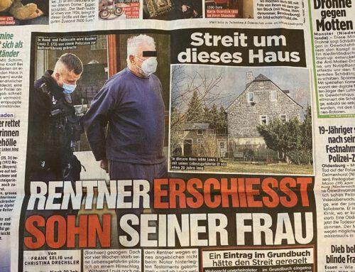 BILD 8.3.21: Rentner erschießt Stiefsohn. Streit um Haus. Interview mit RA Kempgens zum Hintergrund.