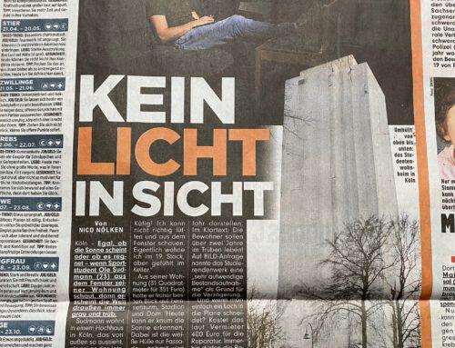 BILD 22.3.: Kein Licht in Sicht. Irrsinn bei Kölner Studentwohnheim. RA Kempgens im Interview.