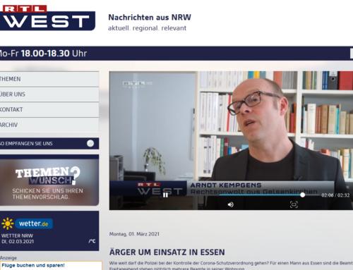 1.3.21 RTL Bericht über umstrittenen Corona-Polizeieinsatz in Essen. RA Kempgens im Interview