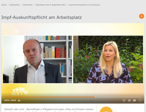 ZDF 8.9.21: Anspruch auf Auskunft Impfstatus ausgeweitet. Das gilt ab sofort. RA Kempgens im ZDF Live-Interview