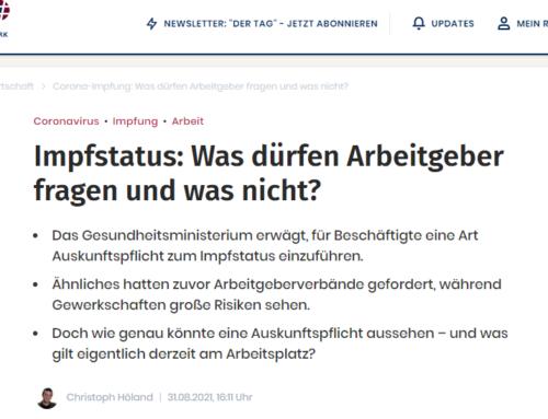 09/2021: Dürfen Arbeitgeber:innen nach dem Impfstatuts ihrer Mitarbeitenden fragen? Alles dazu im Interview mit dem Redaktionsnetzwerk Deutschland