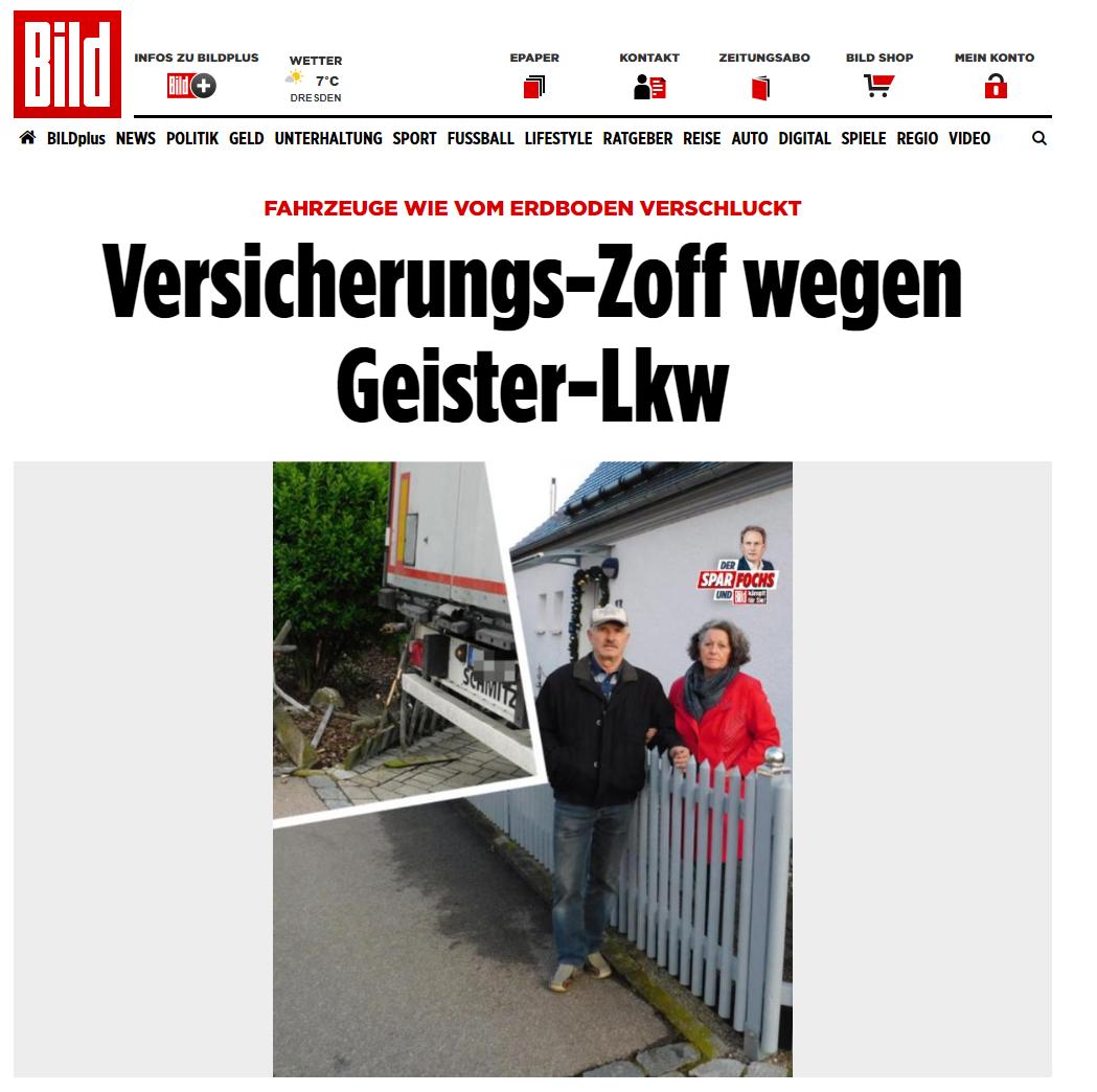 BILD 31.12.: Versicherungs-Zoff wegen Geister-LKW. RA Kempgens in BILD zu einem kuriosen Fall.