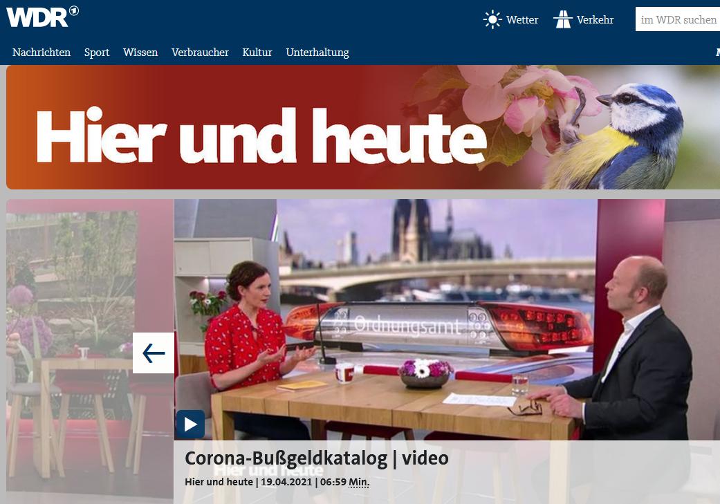 19.4.21 WDR Fernsehen. Corona-Knöllchen auf dem Prüfstand. RA Kempgens im Live-Talk.