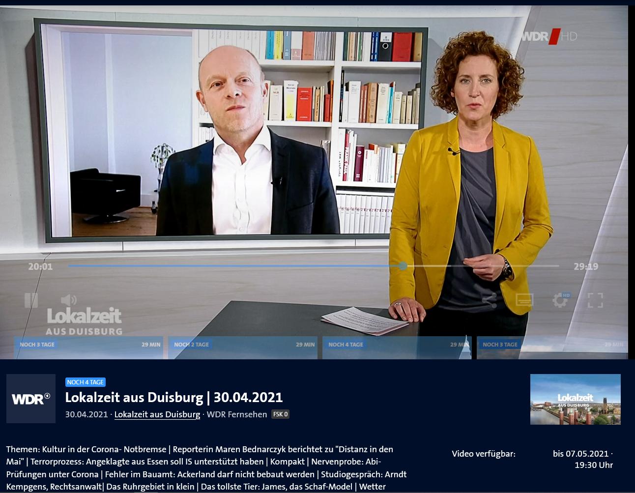 WDR Fernsehen 30.4.21: Studiointerview zum kuriosen Bau-Vorbescheids-Fall einer Duisburger Familie