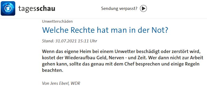 31.7.21: Flut-Helfer und Arbeitsrecht. Was müssen Helfer beachten? RA Kempgens im ARD-Tagesschau Interview